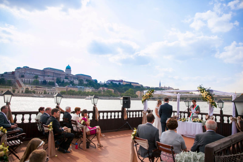 Wedding ceremony on the terrace of the Columbus boat