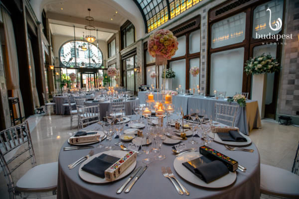 Wedding set up with flowers, candles and wedding favours in the Four Seasons Gresham Palace Budapest