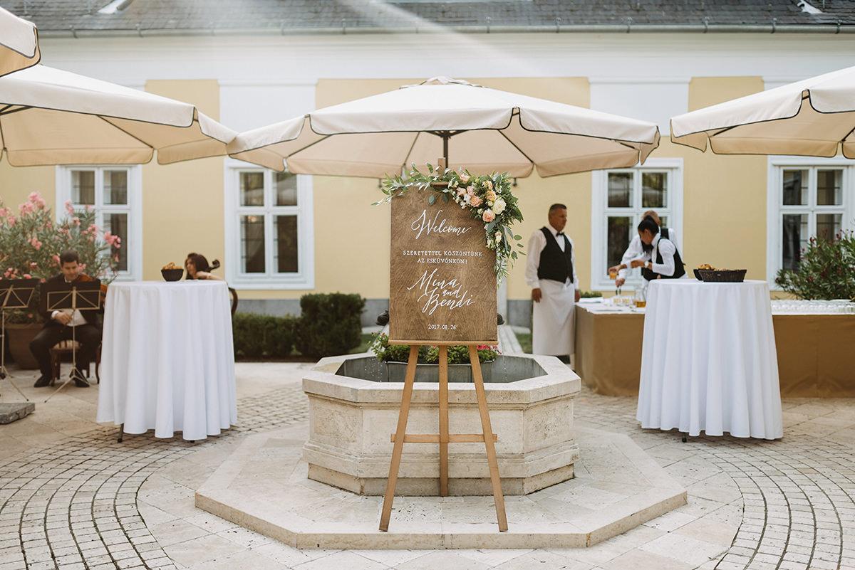 Wedding signage showing where Mina and Bende's big happening