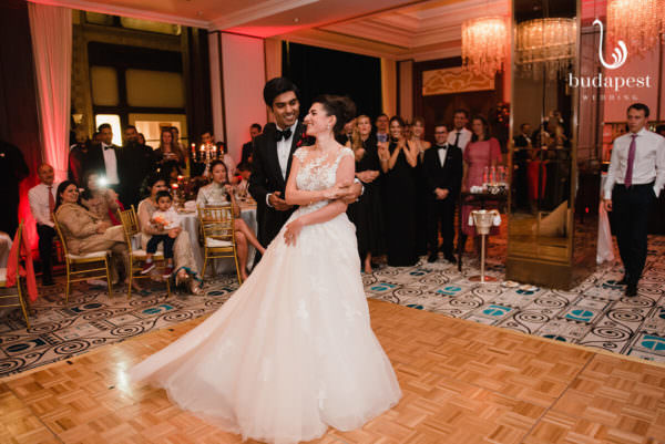 Couple having their first dance as husband and wife
