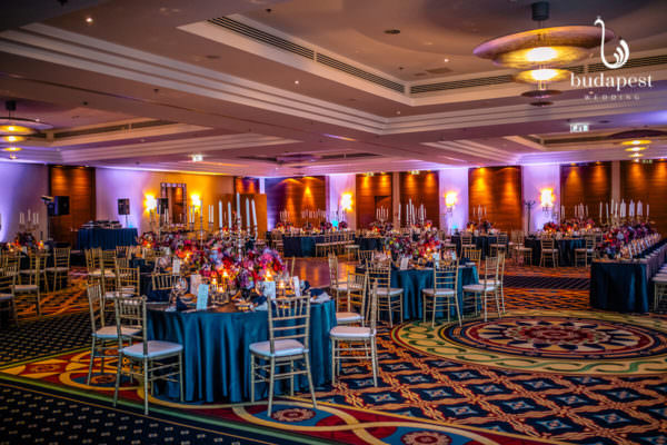 Picture of the entire Budapest ballroom of the Marriott hotel dressed up for a beautiful Brazilian wedding party