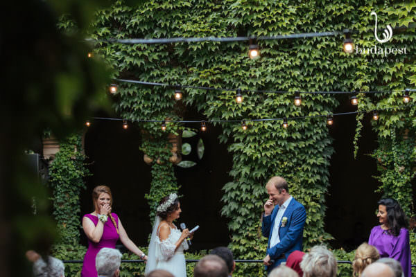 Wedding ceremony and wow exchange inside the Cloister of the Vajdahunyad Castle or on its other name Agricultural Museum