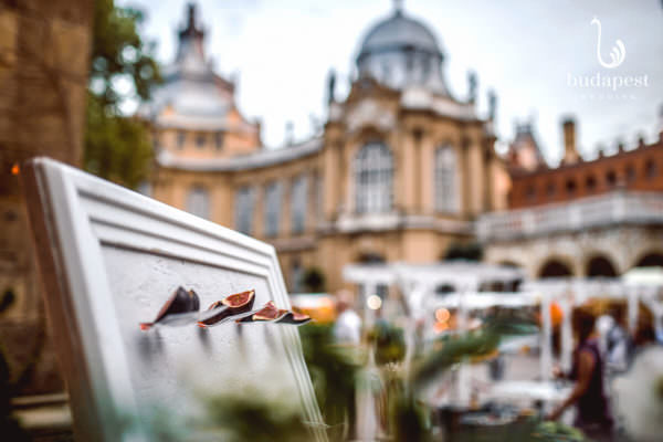 Creative food display from our preferred catering partner, the most creative catering in Budapest called Terra, while the Agricultural Museum is blurred in the background