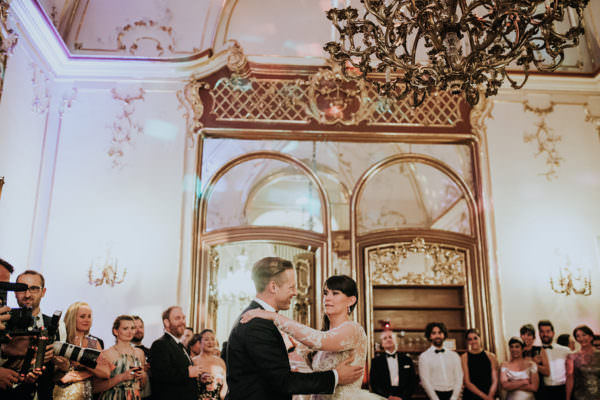 First dance of the couple is a traditional element during the wedding dinner when the couple opens up the dance floor. Picture was taken in the Wenckheim Palace silver room