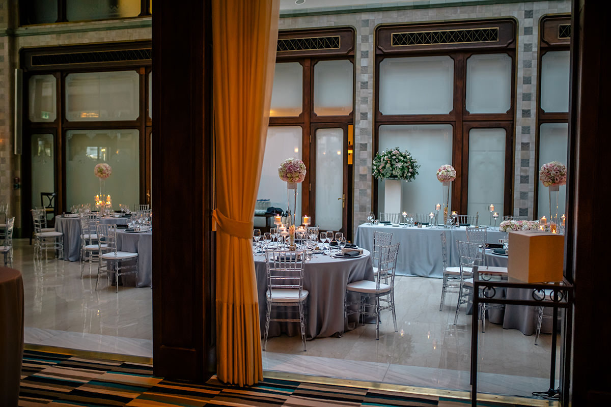 Set up in the Zrinyi Passage and Andrassy room for 120 wedding guests