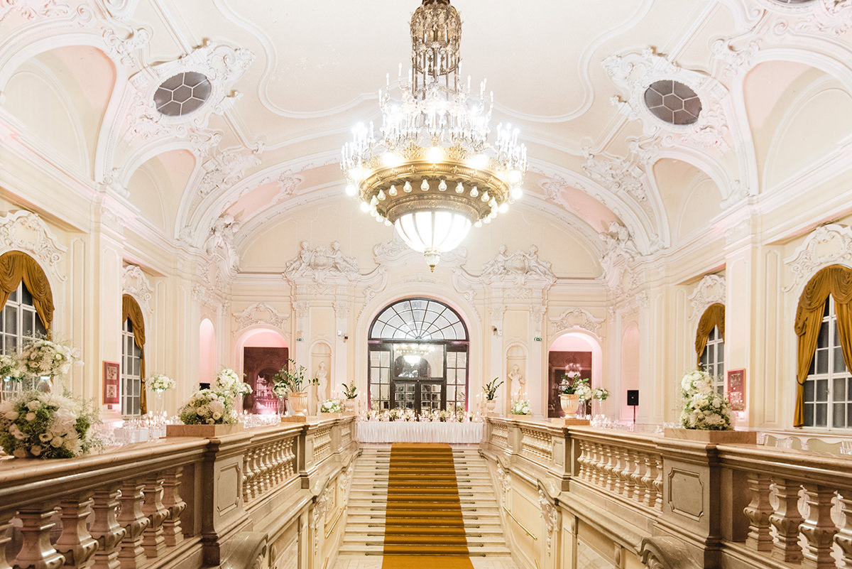 Couple can enter from the stairway which is in between the two wings of the ballroom