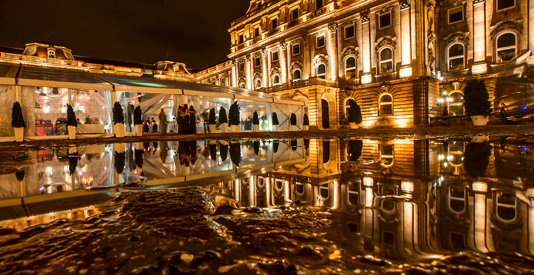 After the heavy rain the water remained on the surface of the Lions' Court reflected back the Hungarian National Gallery up on the Buda Castle