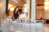The wedding planner checks the final arrangements in the Four Seasons Hotel, Gresham Palace