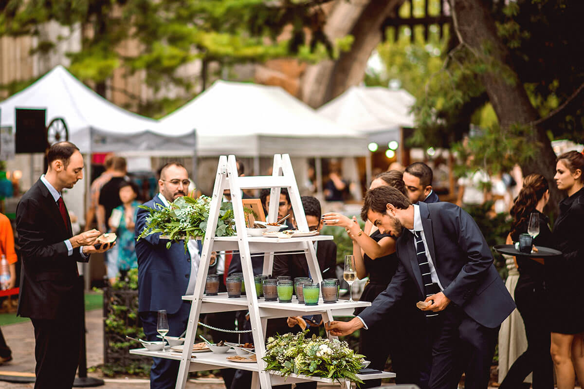 With Terra catering you can find a new way to create an unforgettable event. Budapest newest and most creative catering company. Food station on a wedding ladder.